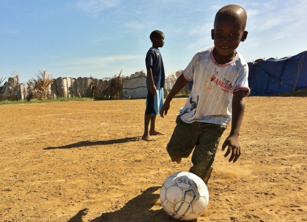 """Tonton"" plays soccer in Haiti"
